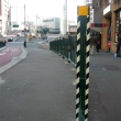 ecoglo hazaed strips used on Pedestrian barrier Druit St Sydney